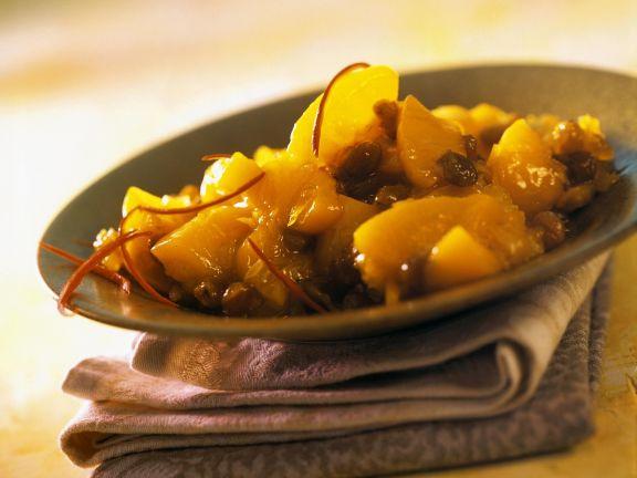 Chutney mit Pfirsich und Safran