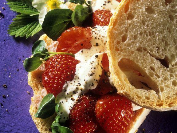 Ciabatta mit Erdbeeren