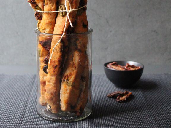 Ciabatta-Stangen mit Oliven