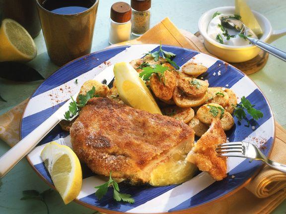 Cordon bleu mit Bratkartoffeln
