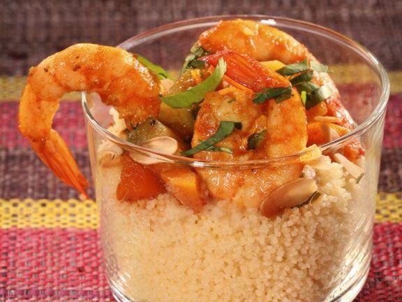 Couscous mit Garnelen, Kürbis und Mandeln