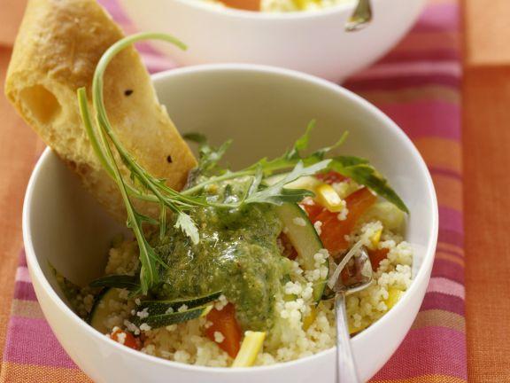 Couscous mit Paprika dazu Rucola-Birnen-Soße