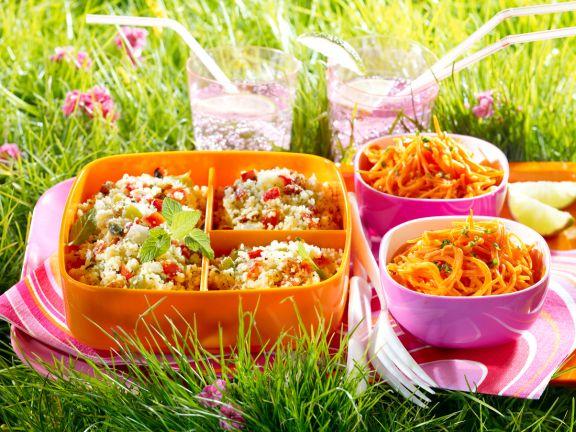 Couscoussalat und Karottensalat für´s Picknick