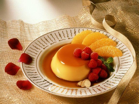 Creme Karamel mit Orangen und Mandeln