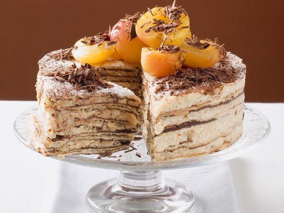 Cremige Oblaten-Kaffee-Torte mit Mirabellen