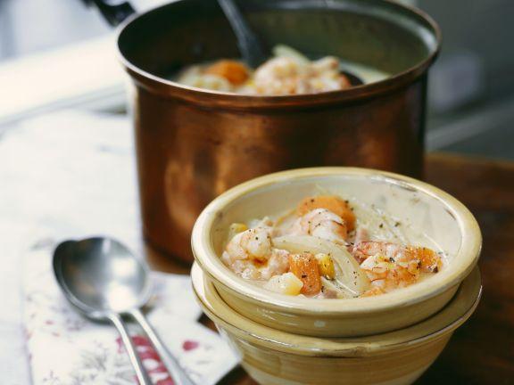 Cremige Shrimps-Fenchel-Suppe