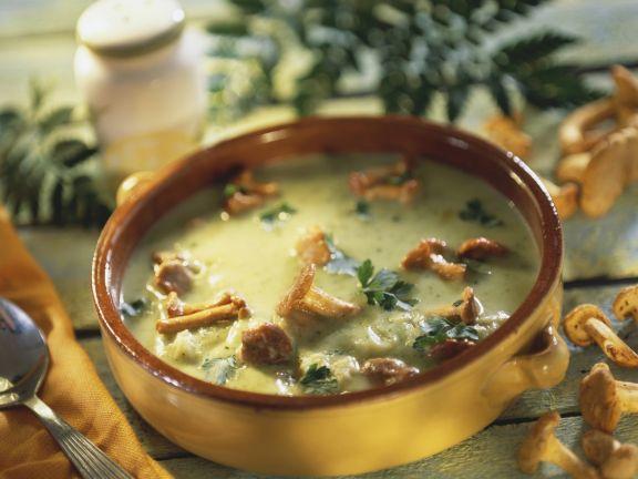 Cremige Zucchinisuppe mit Pfifferlingen