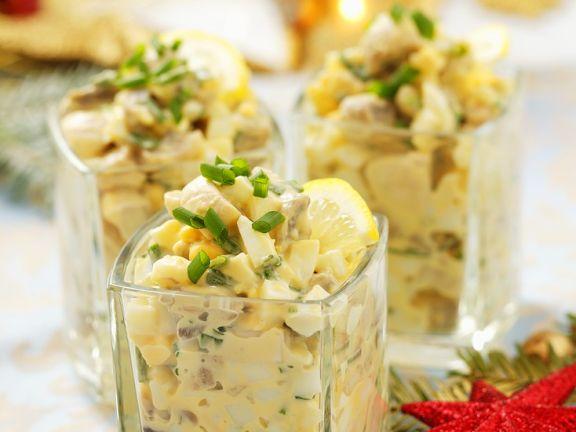 Cremiger Eiersalat mit Pilzen