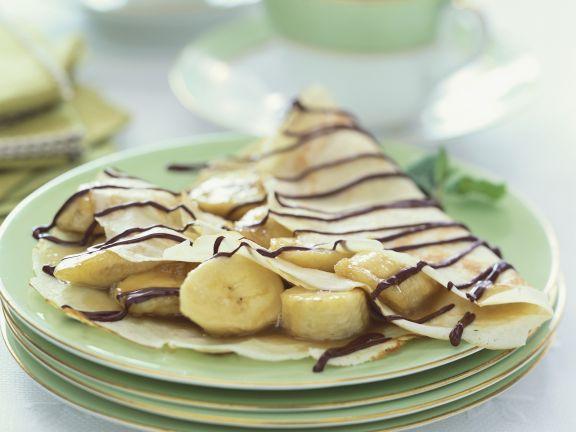 Crêpes mit Banane und Schokolade