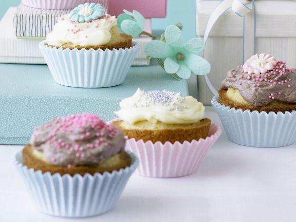 Cupcakes mit Vanille-und Schokotopping