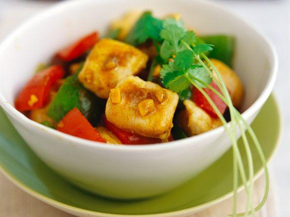 Curry-Hähnchen mit Paprika