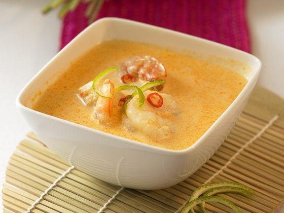 Curry-Kokossuppe mit Garnelen