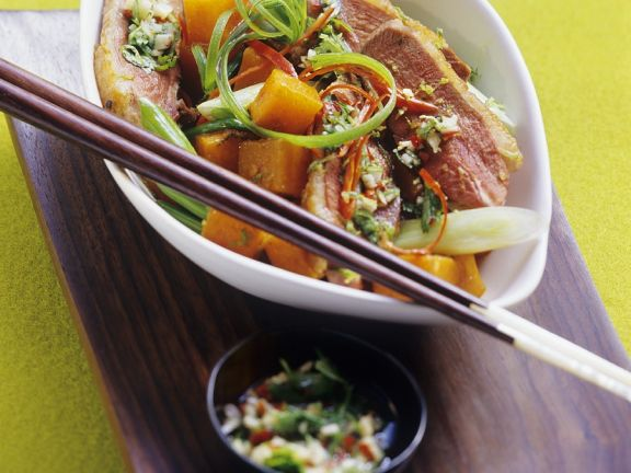 Curry-Kürbis mit Entenbrust