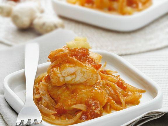 Curry vom Stockfisch mit Tomaten und Zwiebeln