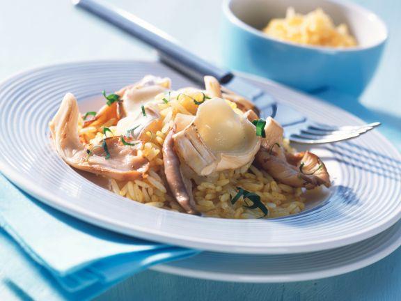 Curryreis mit Austernpilzen und geschmolzenem Camembert