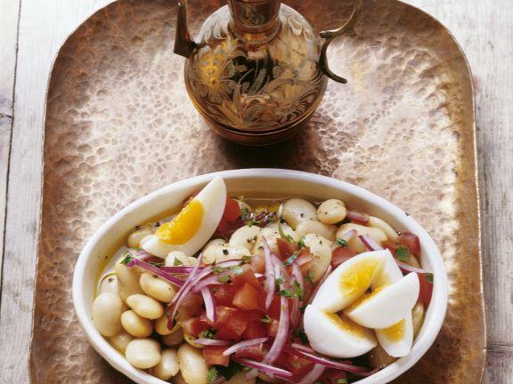 Dicke Bohnen-Salat mit Ei