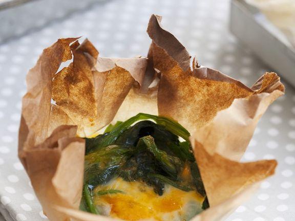 Ei mit Spinat im Ofen gebacken