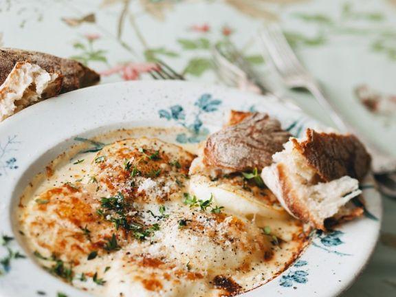 Eier gebacken mit Parmesan