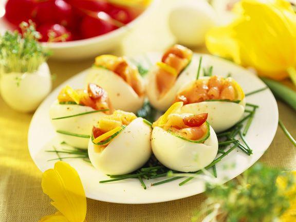 Eier mit Räucherlachs