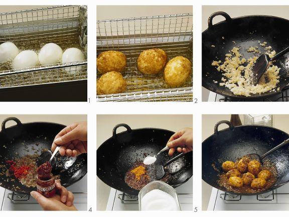 Eier mit scharfer Sauce