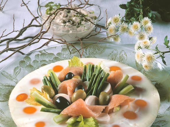Eierpastete mit Lachs und Frischkäsedip