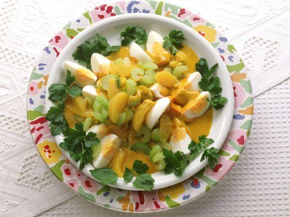 Eierragout mit Sellerie und Orangenfilets