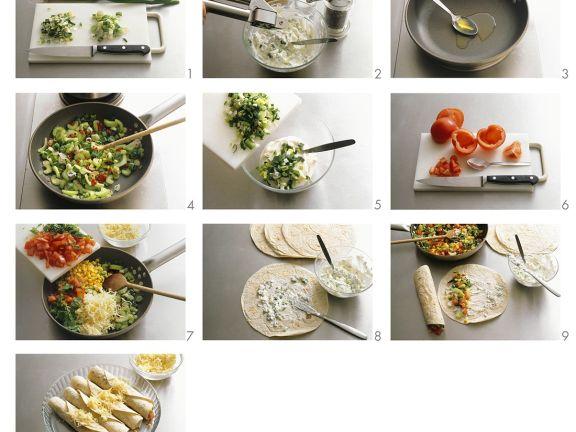 Enchiladas mit Gemüsefüllung zubereiten