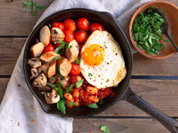 English Breakfast mit Sojawürstchen