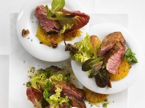 Entenbrust auf Salat