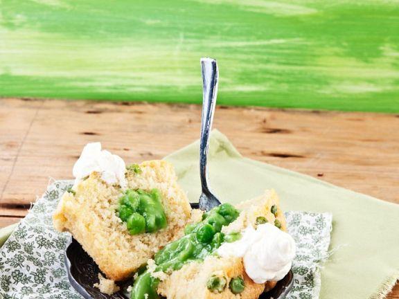 Erbsen-Cupcake mit Ziegenkäse