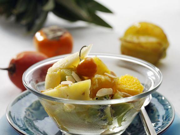 Exotische Früchte im Wok gebraten