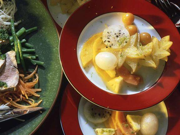 Exotische Früchte mit Limettensauce