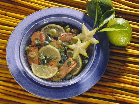 Exotische Suppe mit Filet vom Rind