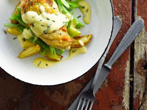 Fasanenbrust mit Gemüse und Buttersauce