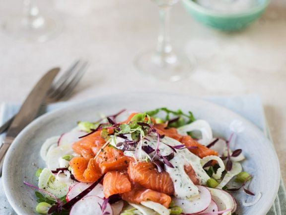 Fenchel-Radieschen-Salat mit Lachs