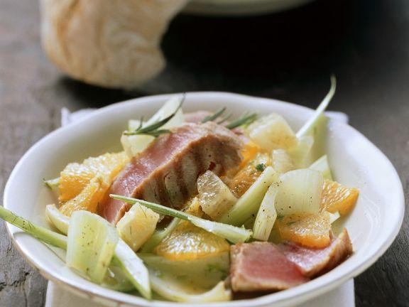 Fenchel-Zitrussalat mit Thunfisch