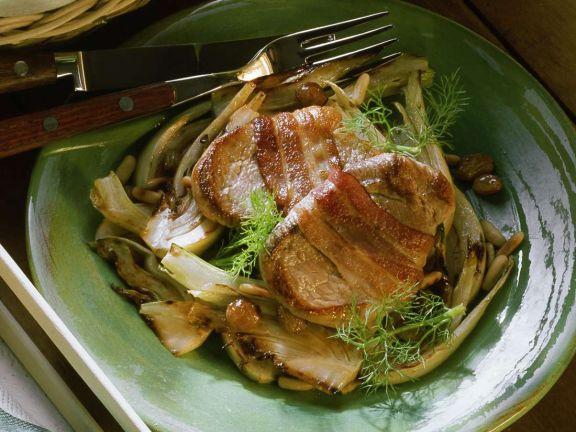 Fenchelgemüse mit Schweinesteaks