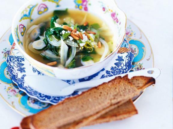 Fenchelsuppe mit Spinat und Feta