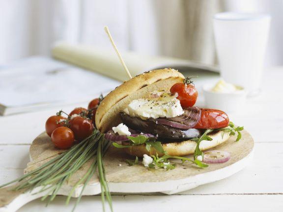Feta-Gemüse-Sandwich