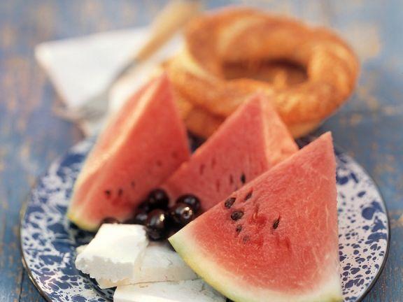 Feta mit Wassermelone