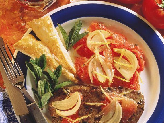 Filetsteaks mit Tomaten und Knusperecken