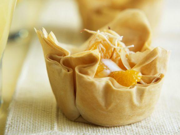 Filo-Mandarinen-Törtchen mit Kokoscreme