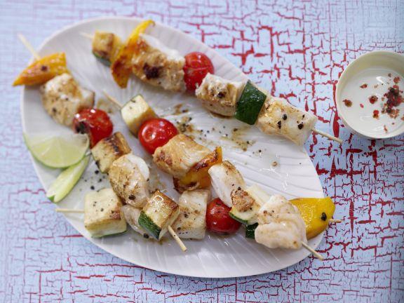 Fisch-Gemüse-Spieße