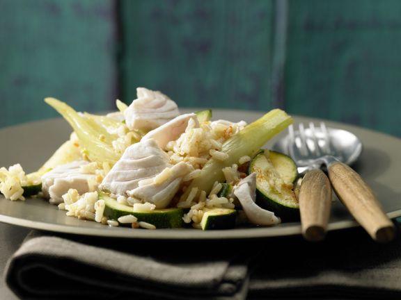 Fisch-Gemüse-Topf mit Reis