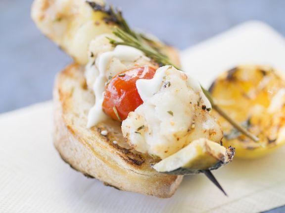 Fisch-Gemüsespieße vom Grill