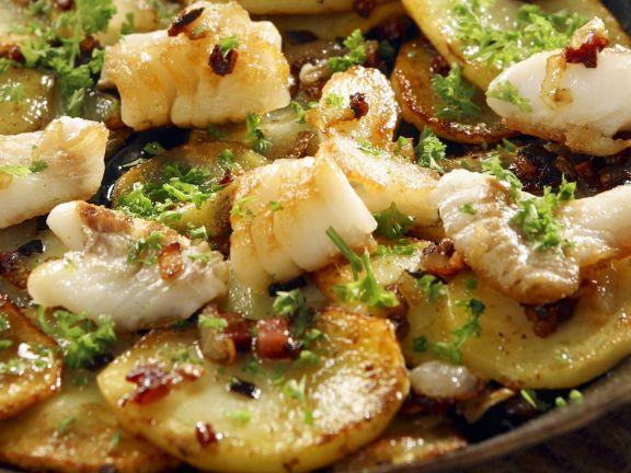 Fisch-Kartoffel-Pfanne mit Speck