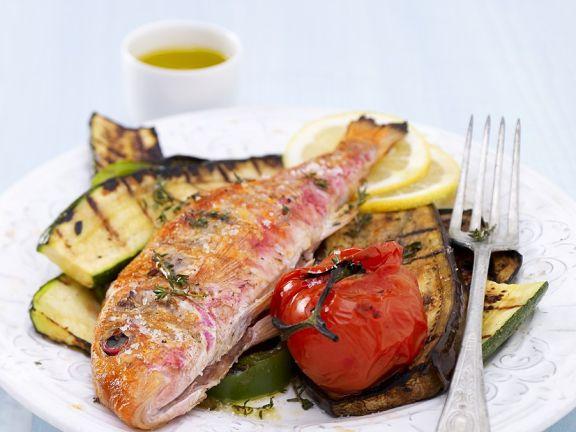 Fisch mit gegrilltem Gemüse