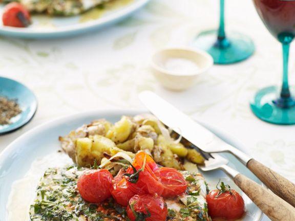 Fisch mit Tomaten und Kräutersoße