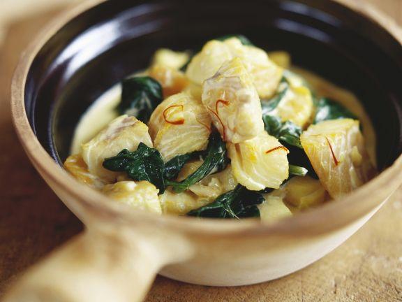 Fisch-Spinat-Topf mit Safran