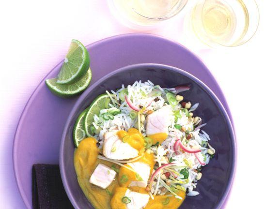 Fischcurry mit Limetten und Basmatireis
